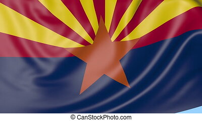 Waving flag of Arizona state against blue sky.