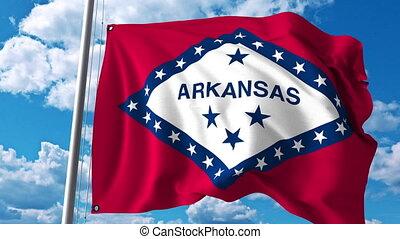 Waving flag of Arkansas. 4K clip
