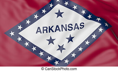 Waving flag of Arkansas state. 3D rendering