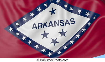 Waving flag of Arkansas state against blue sky