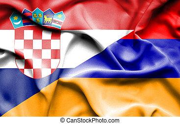 Waving flag of Armenia and Croatia