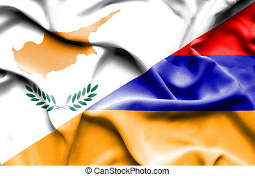 Waving flag of Armenia and Cyprus