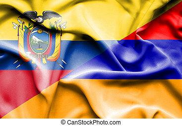 Waving flag of Armenia and Ecuador