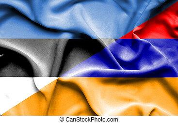 Waving flag of Armenia and Estonia