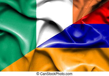 Waving flag of Armenia and Ireland