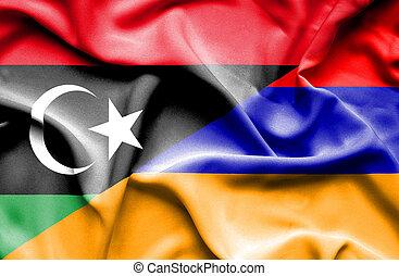 Waving flag of Armenia and Libya