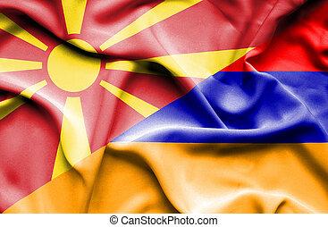 Waving flag of Armenia and Macedonia