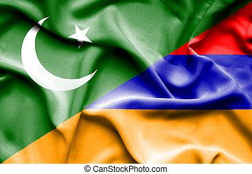 Waving flag of Armenia and Pakistan