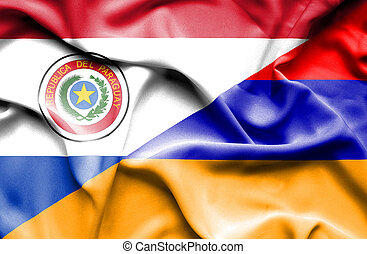 Waving flag of Armenia and Paraguay
