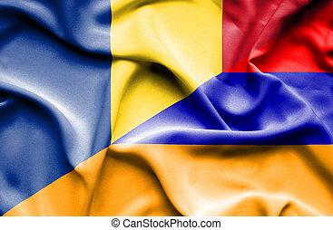Waving flag of Armenia and Romania