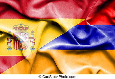 Waving flag of Armenia and Spain
