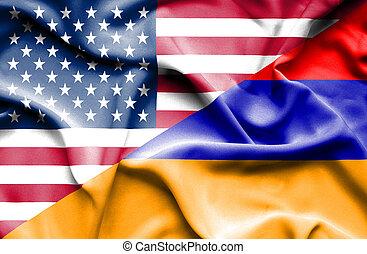 Waving flag of Armenia and USA