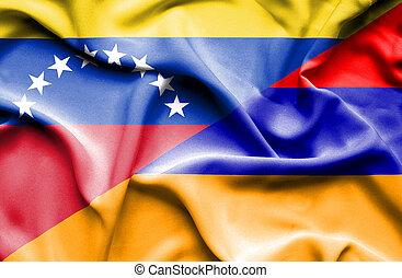 Waving flag of Armenia and Venezuela