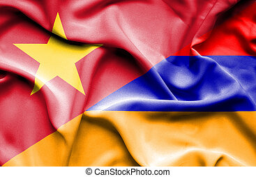 Waving flag of Armenia and Vietnam