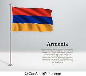 Waving flag of Armenia on flagpole. Template for independence day