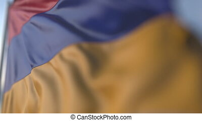 Waving flag of Armenia, shallow focus close-up. Realistic loopable 3D animation