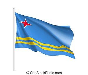 Waving flag of Aruba island in Caribbean sea. Illustration...