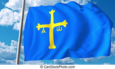 Waving flag of Asturias an autonomous community in Spain -...