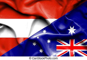 Waving flag of Australia and Austria