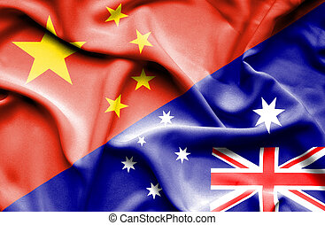 Waving flag of Australia and China - Waving flag of...
