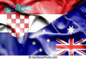 Waving flag of Australia and Croatia