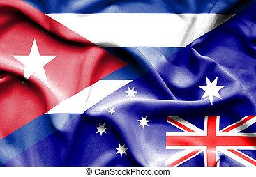 Waving flag of Australia and Cuba