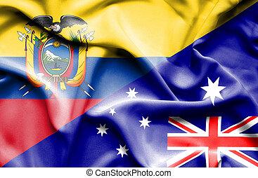 Waving flag of Australia and Ecuador