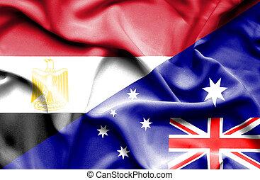 Waving flag of Australia and Egypt