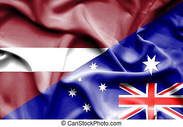 Waving flag of Australia and Latvia