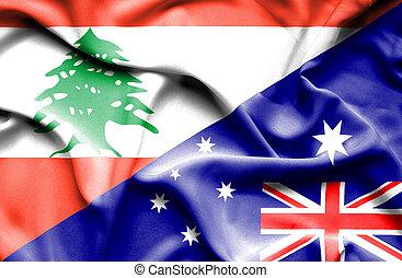 Waving flag of Australia and Lebanon