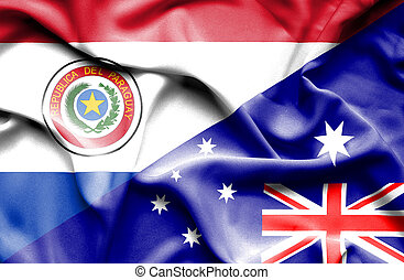 Waving flag of Australia and Paraguay