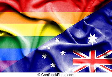 Waving flag of Australia and Pride