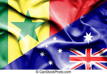 Waving flag of Australia and Senegal