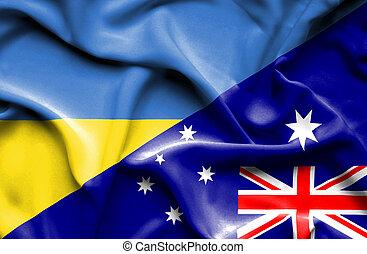 Waving flag of Australia and Ukraine