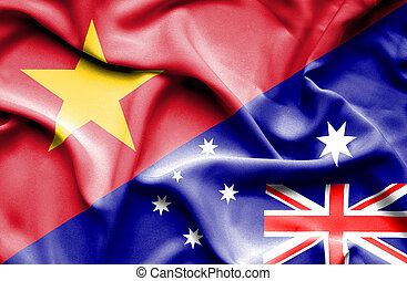 Waving flag of Australia and Vietnam