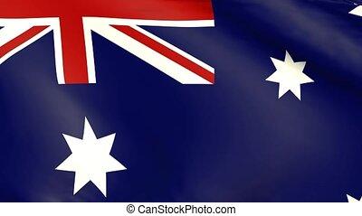 Waving flag of Australia, close up, 3d animation