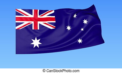 Waving flag of Australia, seamless loop. Exact size, blue background. Part of all countries set. 4K Pro Res with alpha