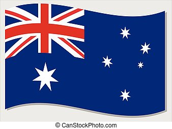 Waving flag of Australia vector graphic. Waving Australian flag illustration. Australia country flag wavin in the wind is a symbol of freedom and independence.