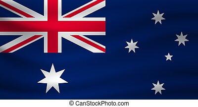 Waving flag of Australia. Vector illustration