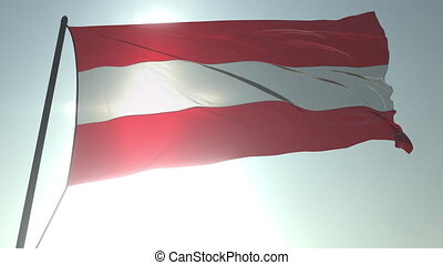 Waving flag of Austria against shining sun and sky. Realistic loopable 3D animation