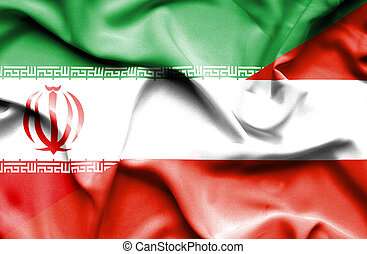 Waving flag of Austria and Iran