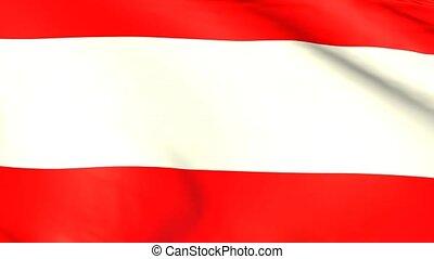 Waving flag of Austria, close up, 3d animation