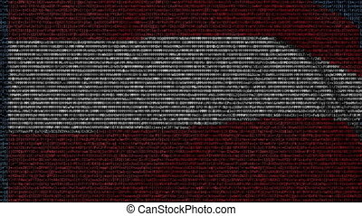 Waving flag of Austria made of text symbols on a computer...