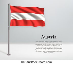 Waving flag of Austria on flagpole. Template for independence day