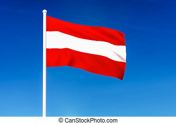 Waving flag of Austria on the blue sky background