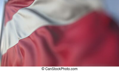 Waving flag of Austria, shallow focus close-up. Realistic loopable 3D animation