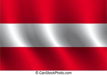 Waving flag of Austria. Vector illustration
