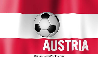 Waving Flag of Austria with football