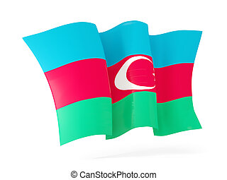 Waving flag of azerbaijan. 3D illustration