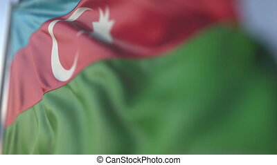 Waving flag of Azerbaijan, shallow focus close-up. Realistic loopable 3D animation